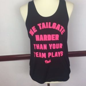 PINK RACERBACK BLACK AND PINK GRAPHIC TANK TOP